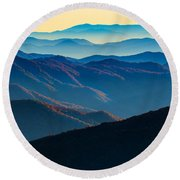 Sunrise In The Smokies Round Beach Towel