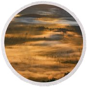 Sunrise In The Valley Round Beach Towel