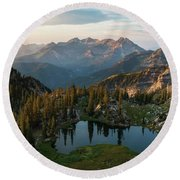 Sunrise In The Wasatch Round Beach Towel