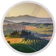 Sunrise In Tuscany Round Beach Towel by JR Photography