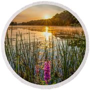 Sunrise Kent Lake Round Beach Towel by Patrick Shupert