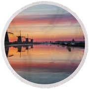 Sunrise Kinderdijk Round Beach Towel