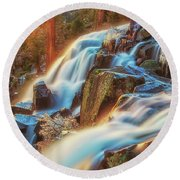 Sunrise Light On Eagle Falls Round Beach Towel