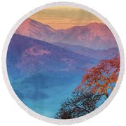 Sunrise Light On Mt. Diablo Round Beach Towel by Marc Crumpler