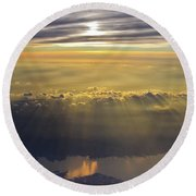 Sunrise From 30,000 Feet Round Beach Towel