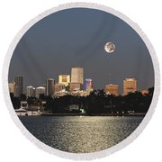 Sunrise Moon Over Miami Round Beach Towel