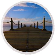 Sunrise Morning Bliss Pier 140a Round Beach Towel