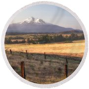 Sunrise Mount Shasta Round Beach Towel