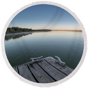Sunrise On A Clear Morning Over Large Lake With Fog On Top, From Round Beach Towel