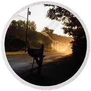 Sunrise On A Country Road Round Beach Towel