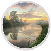 Sunrise On A Misty River Round Beach Towel
