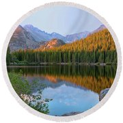 Sunrise On Bear Lake Rocky Mtns Round Beach Towel