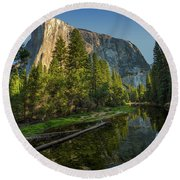 Sunrise On El Capitan Round Beach Towel by Peter Tellone