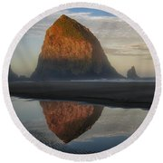 Sunrise On Haystack Rock - Oregon Round Beach Towel