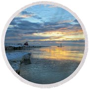 Round Beach Towel featuring the photograph Sunrise On Ice by Greta Larson Photography