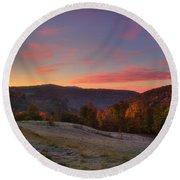 Round Beach Towel featuring the photograph Sunrise On Jenne Farm - Vermont Autumn by Joann Vitali