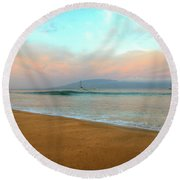 Round Beach Towel featuring the photograph Sunrise On Ka'anapali by Kelly Wade