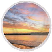 Round Beach Towel featuring the photograph Sunrise On Middletown Rhode Island by Roupen  Baker
