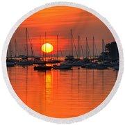 Sunrise On Salem Harbor Salem Ma Round Beach Towel