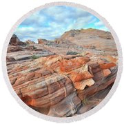 Sunrise On Sandstone In Valley Of Fire Round Beach Towel
