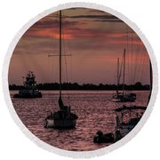 Sunrise On Sarasota Bay, Bradenton Beach Round Beach Towel