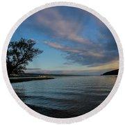 Sunrise On Seneca Lake Round Beach Towel