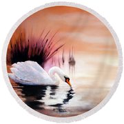 Sunrise On Swan Lake Round Beach Towel