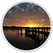 Sunrise On The Bayou Round Beach Towel