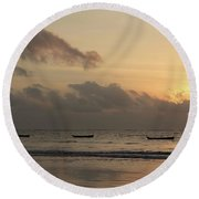 Sunrise On The Beach With Wooden Dhows Round Beach Towel