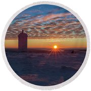 Sunrise On The Brocken, Harz Round Beach Towel