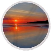 Round Beach Towel featuring the photograph Sunrise On The Coast by Roy McPeak