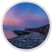 Sunrise On The Cobb, Lyme Regis, Dorset, Uk. Round Beach Towel