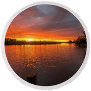 Sunrise On The Collie River Round Beach Towel
