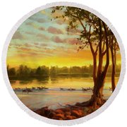 Sunrise On The Columbia Round Beach Towel