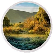 Round Beach Towel featuring the photograph Sunrise On The Duck Marsh by TL Mair
