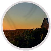 Round Beach Towel featuring the photograph Sunrise On The Farm by Chris Berry