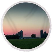 Sunrise On The Farm Round Beach Towel