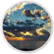 Sunrise On The French Riviera Round Beach Towel