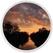 Sunrise On The Illinois Michigan Canal Round Beach Towel
