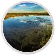 Sunrise On The Lake Round Beach Towel
