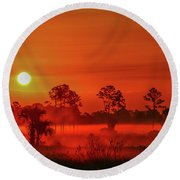Sunrise On The Marsh Round Beach Towel