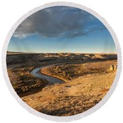 Round Beach Towel featuring the photograph Sunrise On The Milk River by Fran Riley