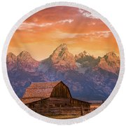 Round Beach Towel featuring the photograph Sunrise On The Ranch by Darren White