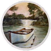 Round Beach Towel featuring the painting Sunrise On The Shallows by Alan Lakin
