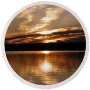 Sunrise On The Turtle Flambeau Flowage Round Beach Towel by Angie Rea