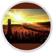 Sunrise On The Wire Round Beach Towel