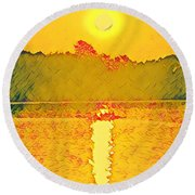 Sunrise On Town Lake Round Beach Towel