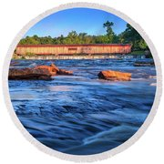Sunrise On Watson Mill Bridge Round Beach Towel