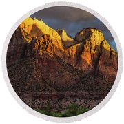 Sunrise On Zion National Park Round Beach Towel