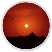 Sunrise Over A Small Town Round Beach Towel by Stephan Grixti